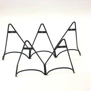 Set Of 5 Plate Wall Hangers Black Metal Brackets
